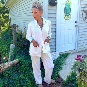 NWT vintage 90's ivory pajama lounge set top pants